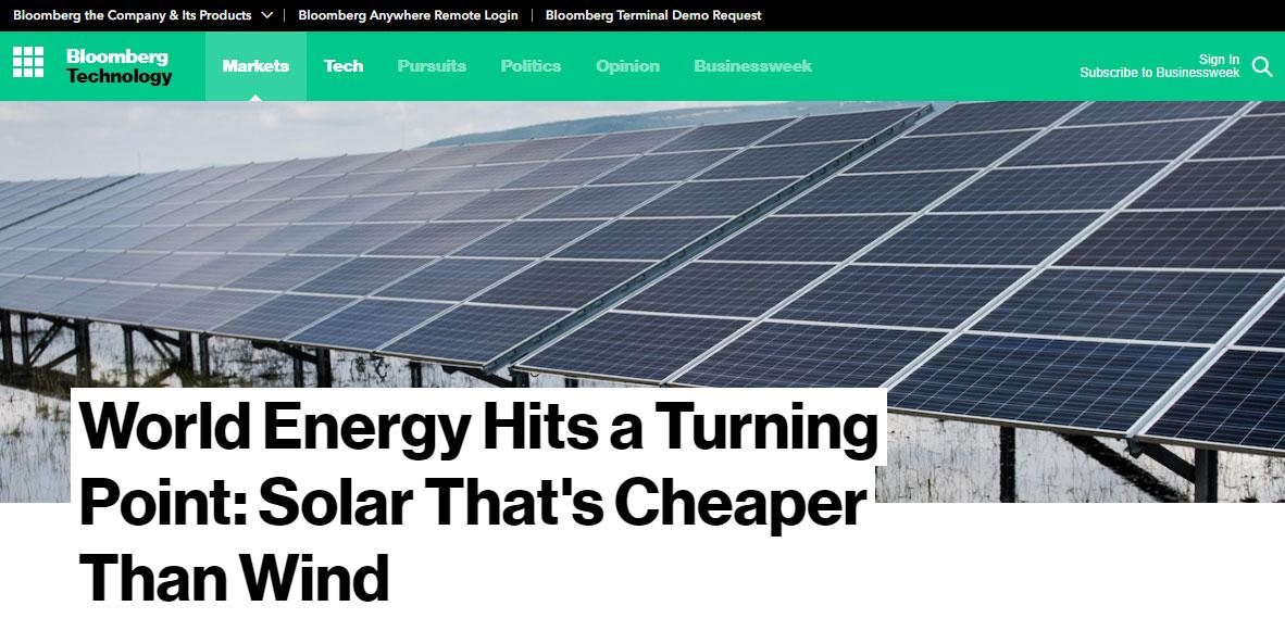 Солнечная энергия стала дешевле ветряной